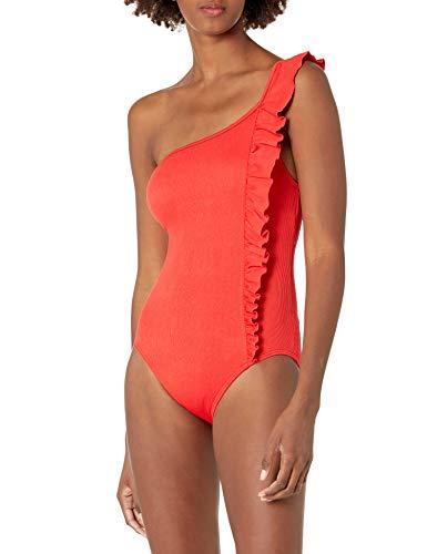 Vince Camuto Damen Ruffle Shoulder ONE Piece Einteiliger Badeanzug, Poppy 670, 42