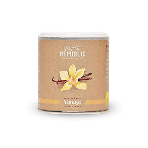 HARVEST REPUBLIC - Polvere di vaniglia biologica, 25 g, per frullati e shakes, food, vegani