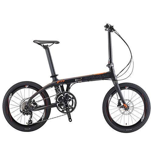 """SAVADECK Z1 Carbon Faltrad 20\"""" City Klapprad mit Kohlefaser Rahmen und Shimano 105 R7000 22 Gangschaltung (schwarz orange)"""