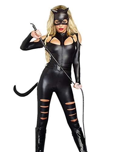 Forever Young Ladies Sexy PVC Faux Leather Catfight Catwoman Fancy Dress Costume Full Outfit (UK 10-12)