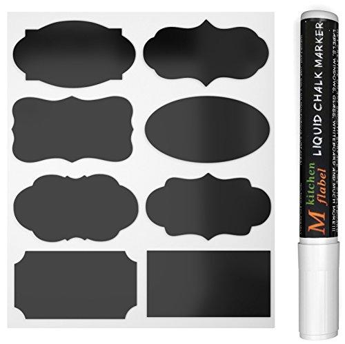 40 Schwarz Tafel-Sticker, Abnehmbare Reusable Vinyl-Sticker, Chalkboard Etiketten Mit flüssige Kreide Marker für Gläser, Lebensmittel, Gewürz, Brille, Büro einfach organisieren (40pcs)