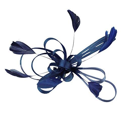 Inzopo - Tocado para Novia, diseño de Plumas, Color Azul Marino