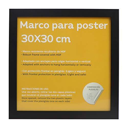 Nacnic Marco Negro tamaño 30x30cm. Marco Negro para Fotos, Posters, Diplomas, …