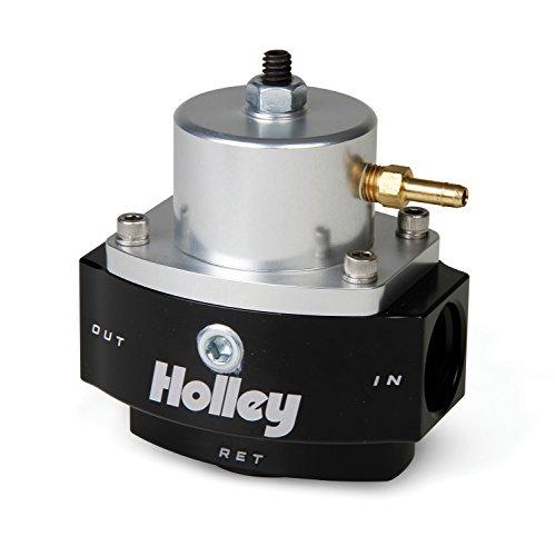 Holley 12-848 10AN Inlet / Outlet 8AN Return 40-70 PSI Billet Fuel Pressure Regulator, Black Anodized