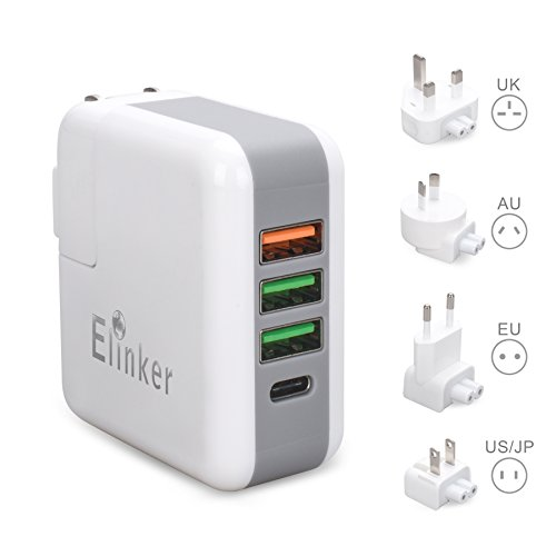 Elinker USB Charger Plug,4-Port USB Wall Charger, with US UK EU International Travel Adapter Quick Charge 3.0 Tech for MacBook,iPhone,iPad,Samsung,Tablet,Power Bank&more-White