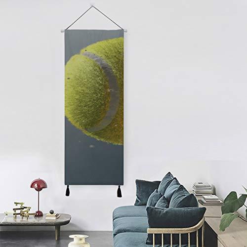 Pelota de tenis con llamas en el aire Tapiz Colgador de pared Decoración de arte de pared vintage 13 pulgadas de ancho X 47 pulgadas de largo Decoración moderna para el hogar Baño Colgante de pared
