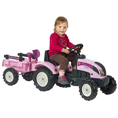 vidaXL Tractor Falk Baby Princess con Remolque y Accesorios, 2/5 años, Rosa