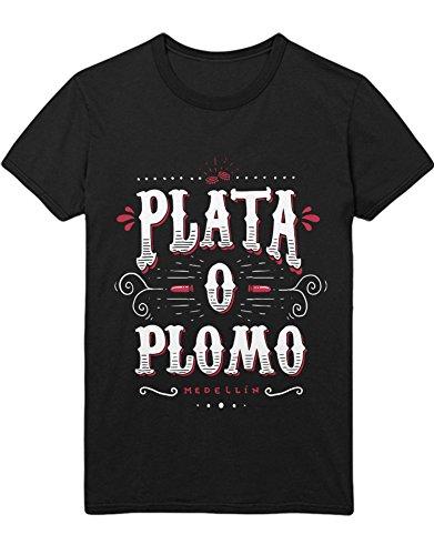 T-Shirt Pablo Escobar Plata O Plomo Medellin C000072 Schwarz L