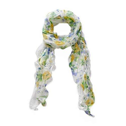 Lida Lydi Schal aus 100 % Seiden/Seide, 200 cm x 45 cm, bedruckt, Motiv Grün/Gelb/Blau auf einer Seite und Elfenbein auf der anderen Seite.