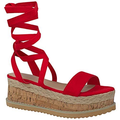 Damen Plateau Kork Espadrilles Sandalen Mit Keilabsatz Knöchel Schnüren Schuh Größe - Rot Kunstwildleder, 38