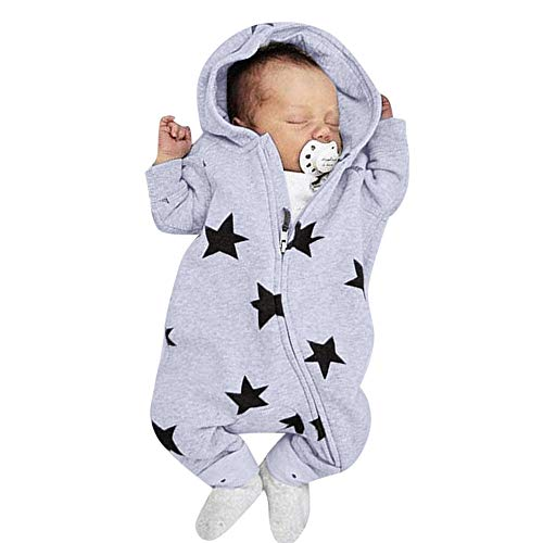 Kobay Neugeborenen Baby Mädchen Jungen Sterne Drucken Mit Kapuze Reißverschluss Harem Spielanzugoverall(6-12M,Grau)
