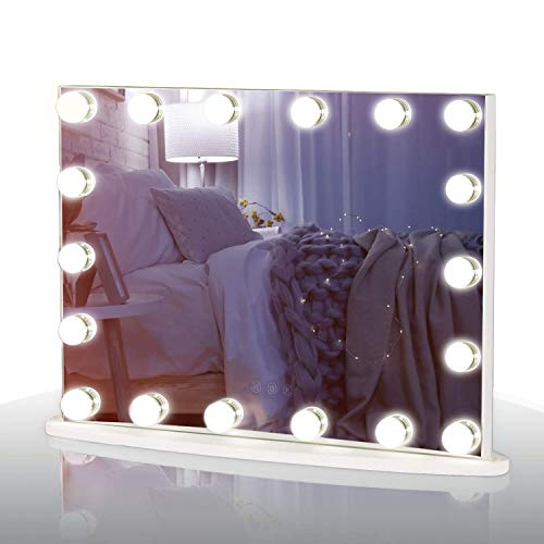 LUXFURNI Vanity Tabletop Makeup Hollywood Mirror Dimmable Light Touch Control 18 Cold/Warm LED Lights