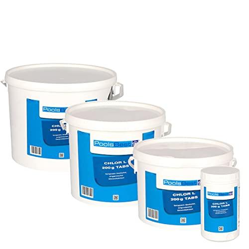 POOLSBEST® 1 kg - Chlortabletten L 200 g Tabletten 92% Aktivchlor langsamlösliche Chlortabletten
