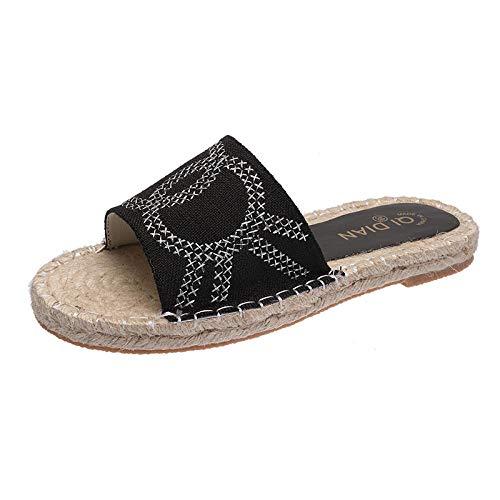 Pantuflas para Mujer Sandalias de Playa de,Verano de paja plana zapatos de pescador de cuerda de cáñamo hembra tendón inferior de dibujos animados cabeza de perro sandalias y zapatillas de espiga-Blac