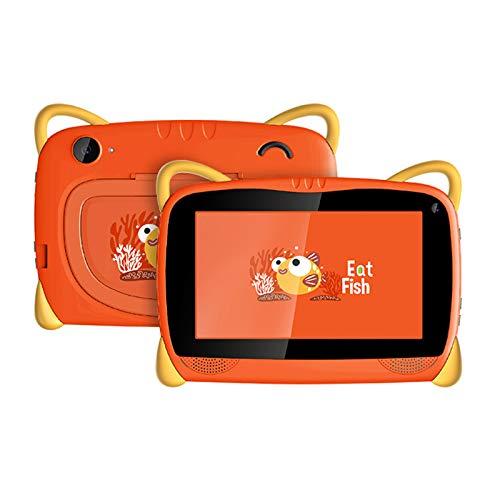 HJGHY Tableta para Niños Tableta con WiFi Android 6.0 de 7 Pulgadas para Niños Pequeños con Estuche de Prueba y Soporte Tableta de Aprendizaje para Niños para la Escuela en Casa,Naranja