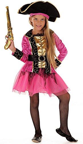 Magicoo Prinzessin Piratenkostüm Kinder Mädchen Gr 110 bis 140 inkl. Piratenkleid, Gürtel & Hut - Piratin Fasching Kostüm (110/116)