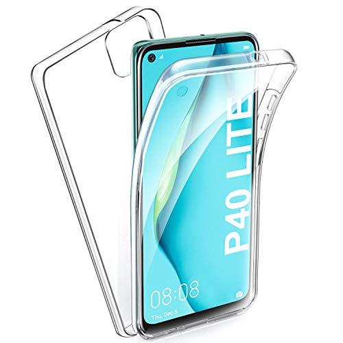 AROYI Hülle Kompatibel mit Huawei P40 Lite 360 Grad Handyhülle, Silikon Crystal Full Schutz Cover 2in1 Separat Hart PC Zurück mit Weich TPU Vorderseite Vorne & Hinten Schutzhülle