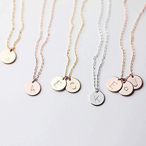 Delicate Initial Disc Necklace Mothers Day Jewelry Graduation Day Gifts Rose Gold Initial Necklace...