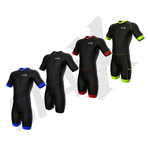 Sparx Triathlon Race Suit | Short Sleeve Aero Tri Suit | Men Triathlon Suit | Triathlon Race Suit 2017 | Skinsuit | Trisuit | Swim-Bike-Run (Black/Neon Green, Large)