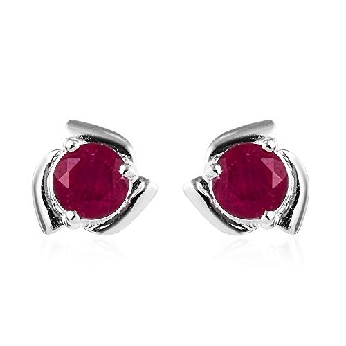 TJC Natural African Ruby 925 Sterling Silver Push Back Solitaire Stud Earrings for Women, 1 ct,