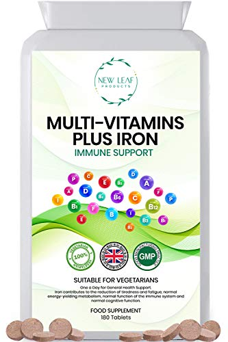 Multivitamins with Iron - One a Day - 13 Essential Daily Vitamins & Iron Supplement for Men and Women - Vegetarian Multivitamins - UK Manufactured to GMP Standards, 6 Months Supply
