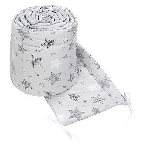 TupTam Babybett Bettumrandung Nestchen Lang Gemustert, Farbe: Sterne Schwarz/Grau, Größe: 360x30cm (für Babybett 120x60)