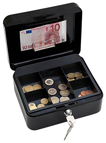 Wedo 145221H Geldkassette (aus pulverbeschichtetem Stahl, versenkbarer Griff, Geldnoten- und Belegeklammer, 5-Fächer-Münzeinsatz, Sicherheits-Zylinderschloss, 20 x 16 x 9 cm) schwarz
