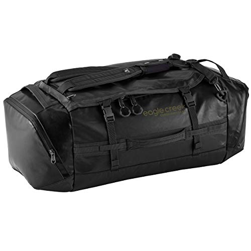 Eagle Creek Cargo Hauler Duffel Bag 60L, Split Bagpack, Foldable Travel Bag, Weather and Abrasion Resistant TPU Fabric, Travel Luggage, Jet Black, M