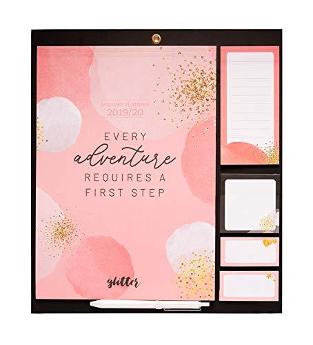 Erik® - Calendario da muro 'Glitter Gold Dreams' con Planner Mensile 2019/2020. Include superficie magnetica per frigorifero. Ideale per l'organizzazione della famiglia grazie alle sue funzioni extra
