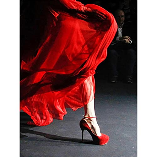 5D DIY Pintura de Diamante por Número Kit Vestido rojo Tacones rojos Completo Cristal Diamante Bordado Punto de Cruz Pinturas Artes Manualidades Lienzo para Decoración de la Pared del Hogar 30x40cm