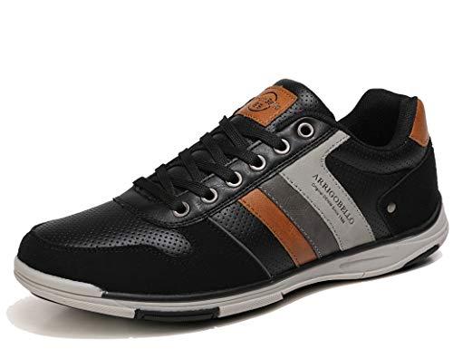 AX BOXING Zapatillas Hombres Aire Libre Deportivo Sneakers Cómodo Elegante Casual Zapatos Tamaño 41-46 (Negro, Numeric_42)