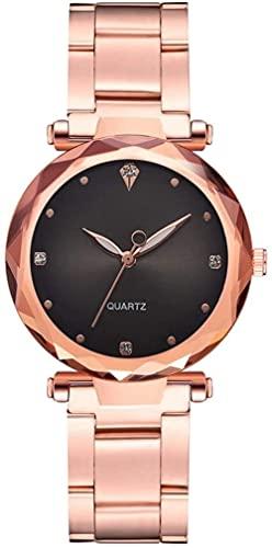 JZDH Mano Reloj Relojes de Mujer Relojes de Pulsera Moda Rose Gold Correa Reloj de Cuarzo Gradiente Dial Dial Rhinestone Reloj Negro Relojes Decorativos Casuales