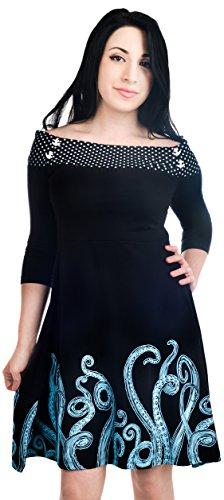 Banjo & Cake Kleid Cloud 9 Dress - Tentacles Schwarz S