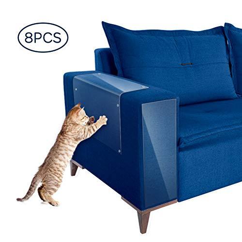 YOUTHINK Katzen Kratzschutz, Möbelschutz für Katzen Kratzschutz Krallenabwehr 8 Stück, Selbstklebende Möbelschutzfolien Gegen Katzenkratzer