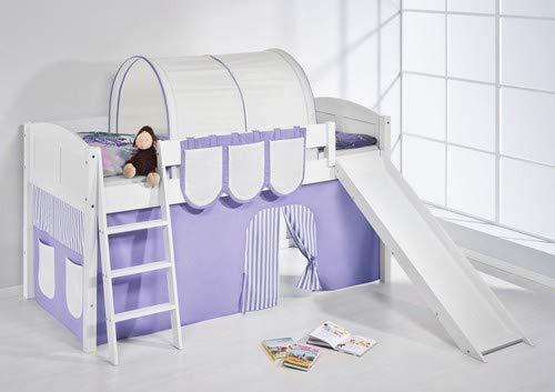 Lilokids Spielbett IDA 4106 Lila Beige-Teilbares Systemhochbett weiß-mit Rutsche und Vorhang Kinderbett, Holz, 208 x 220 x 113 cm
