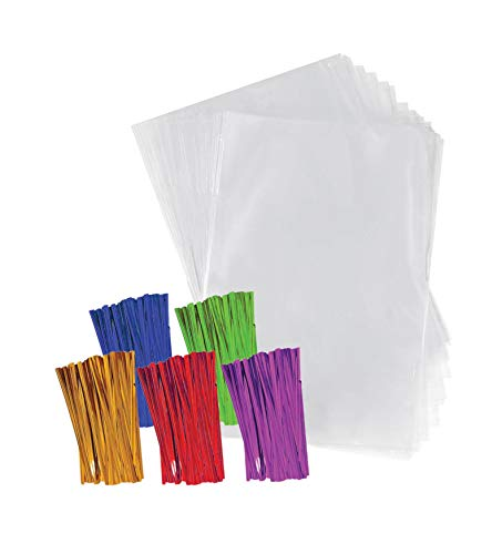 Clear Plastic Cellophane Bags with 4' Colored Twist Ties for Gifts Party Favors (4'x6', 200 Pack)