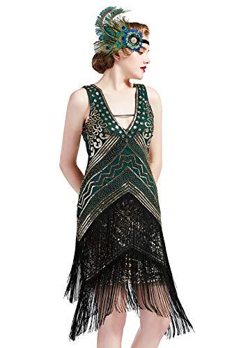 Coucoland sukienka z klapą z lat 20. XX wieku z dekoltem w serek cekin z koralikami frędzel sukienka z frędzlami Gatsby impreza sukienka koktajlowa dla kobiet