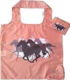 Chilino Faltbare Einkaufstasche, groß und stabil, umweltfreundlich, Polyester, Pferde, kastanienbraun, 47x41 cm