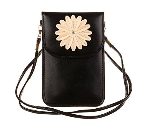 MiCoolker Chrysanthemum Premium Universal PU Leather Womens Girls Small Shoulder Bag Messenger Travel Purse Cute Crossbody Bags Mobile Phone bag Case Pouch for Apple iphone 7 7S Plus 6 6s Plus 5.5''