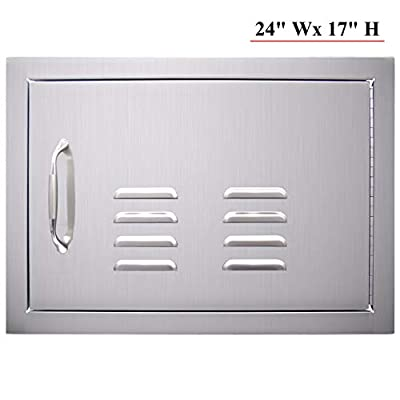 """YXHARD 304 Stainless Steel 24"""" Wx 17"""" H Single Kitchen Access Door with Vents, BBQ Access Door Flush Mount for Outdoor Kitchen Grilling Station or Commercial BBQ Island"""