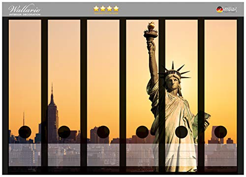 Wallario Ordnerrücken Sticker Freiheitsstatue New York in Premiumqualität - Größe 36 x 30 cm, passend für 6 breite Ordnerrücken