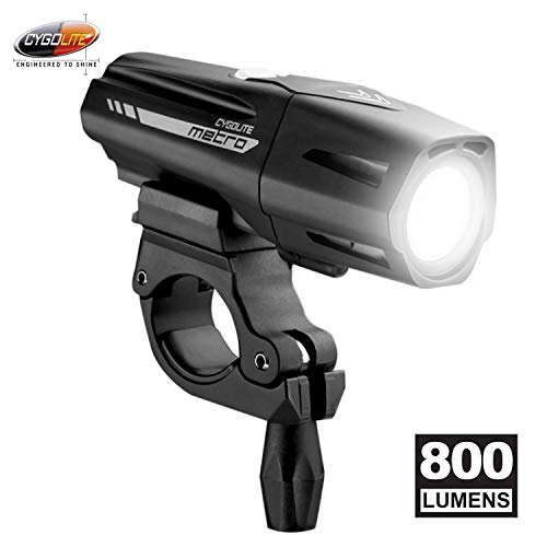Cygolite Metro Plus– 800 Lumen Bike Light– 5 Night & 3 Daytime Modes– Compact & Durable – IP67 Waterproof– Secured Hard Mount– USB Rechargeable Headlight– for Road, Mountain, Commuter Bicycles