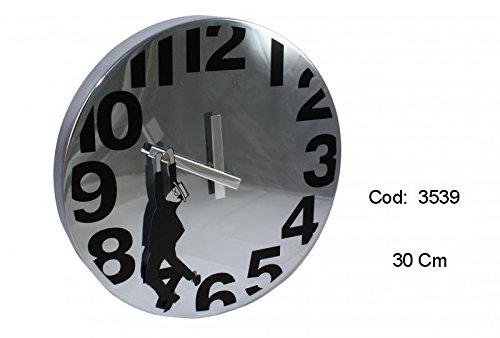 Reloj de pared, tipo Buster Keaton, cromado, de 30 cm.