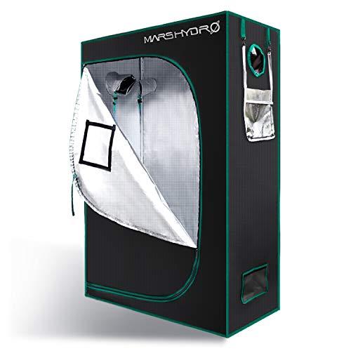 MarsHydro Growbox Anbauzelt Growzelt Gewächszelt Zuchtschrank Reflective luftig Wasserdicht für Homegrowing Indoor Pflanzenzucht Grow Tent(120x60x180cm)