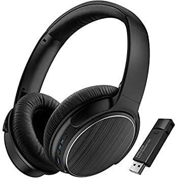 TOKSEL Wireless Gaming Headphones Set w/Noise Cancelling Microphone & Bluetooth USB Audio Transmitter for PC PS4 Desktop Chat & Music Simultaneously Low Latency 15hrs Play Time