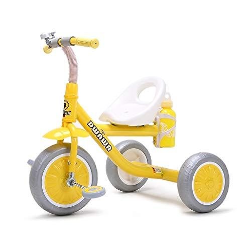 WENJIE Triciclo portátil for niños Exterior Balance de Color Triciclo 2en1 Bicicleta 2 65 * 50 * 60cm (Color : Yellow)