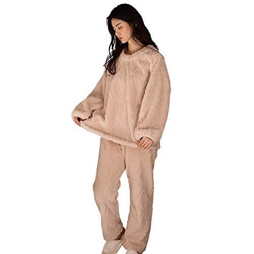 WX-ICZY Dickes Coral Fleece weichen Frauen Pyjama Set, Elegante Gentle Moderne beiläufige warme Flanell Herbst Winter Home Wear lose elastische Bequeme Pyjamas 2-teiliges Set,XL
