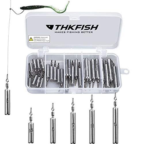 THKFISH Kit de señuelos de Pesca Anzuelos de Pesca Pesqueros de Peso Pesca Drop Shot Rig Swivels de Pesca Encaje 28 Piezas