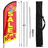 FSFLAG Sale Here Swooper Flutter Feather Flag with Flagpole Kit and Ground Stake, 11 Foot Advertising Swooper Windless Flag Sign and Pole Kit for Sale Business