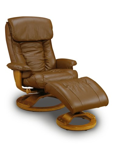 Hot Sale Mac Motion Chairs Model 2-Piece Recliner with Matching Ottoman Saddle Leather with Pecan Frame